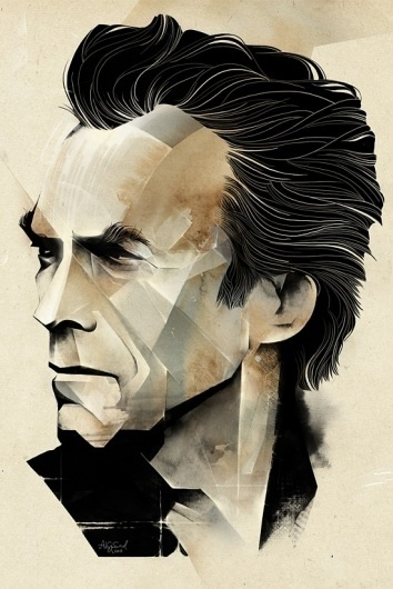 Alexey Kurbatov | Fubiz™ #eastwood #illustration #portrait #clint