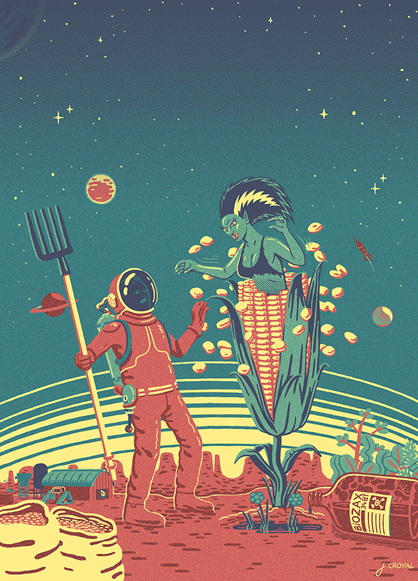 SIC on Behance #alien #bizarre #astronaut #design #fi #sci #pitchfork #illustration #pulp #corn #planet