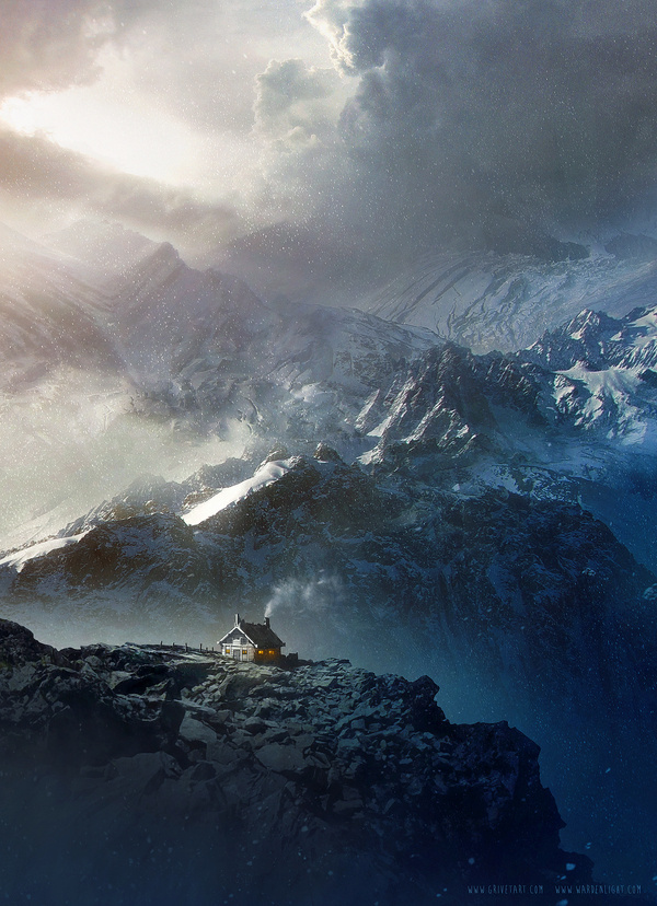 Happy Holidays! by Grivetart on deviantART #design #cold #landscape #illustration #concept #art #mountains #winter