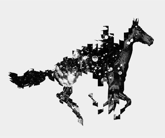 seesaw. #white #horse #photo #black #illustration #and #animal