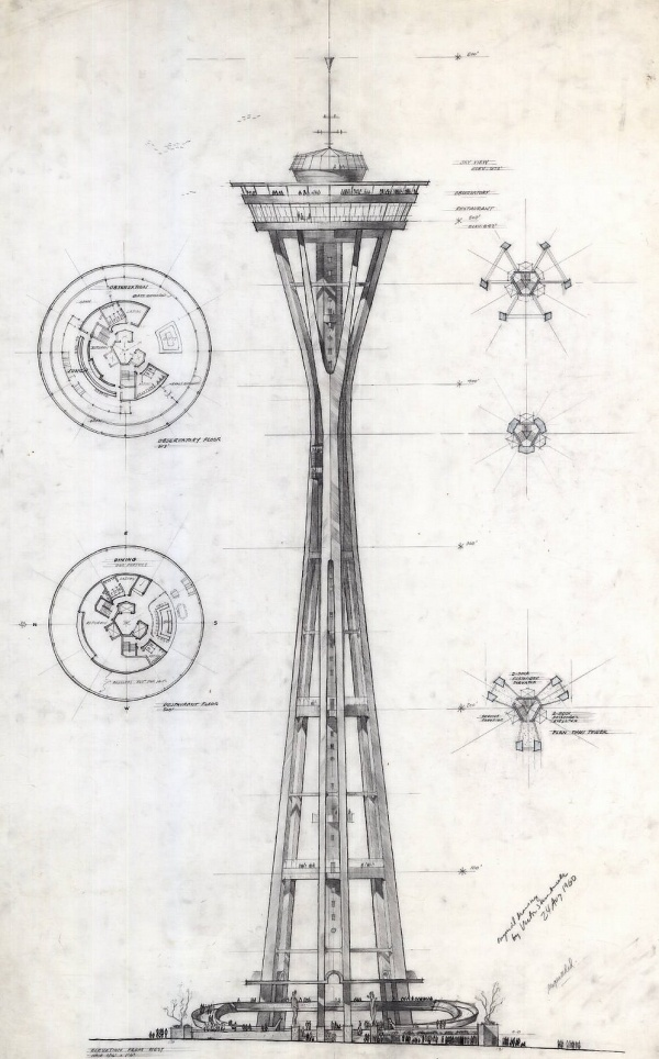 preliminary+design+of+the+Space+Needle+for+the+1962+Seattle+World's+Fair+Exhibition+Original+drawing+by+Victor+Steinbrueck+24+Aug+1960.jpg (image) #needle #illustration #concept #space