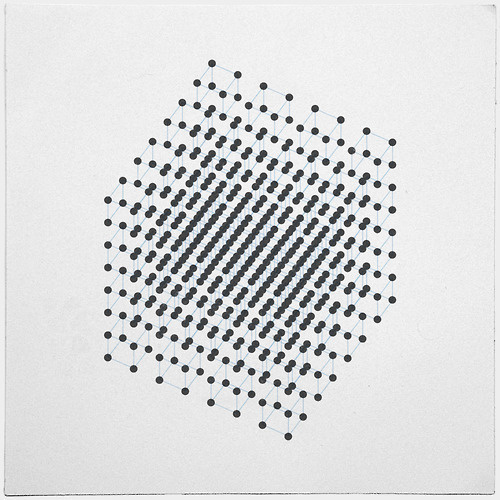 geometrydaily:2^9 = 2 x 2 x 2 x 2 x 2 x 2 x 2 x 2 x 2 = 512 dots, arranged in cubes. 2x2 dots arranged in cubes, arranged in 2x2 meta cubes, #grid #design #shapes