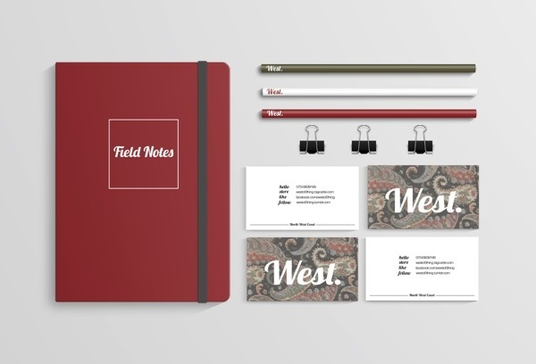 West Clothing #business #stationary #moleskin #design #graphic #cards