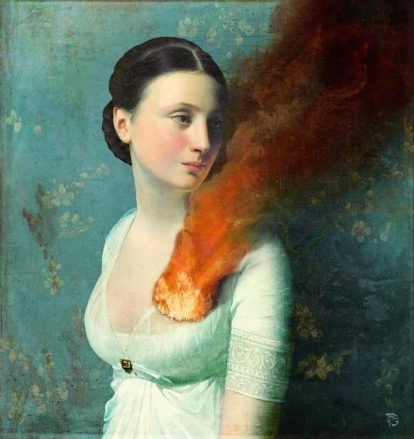 Christian Schoel #heart #smoke #burn #illustration #fire #painting