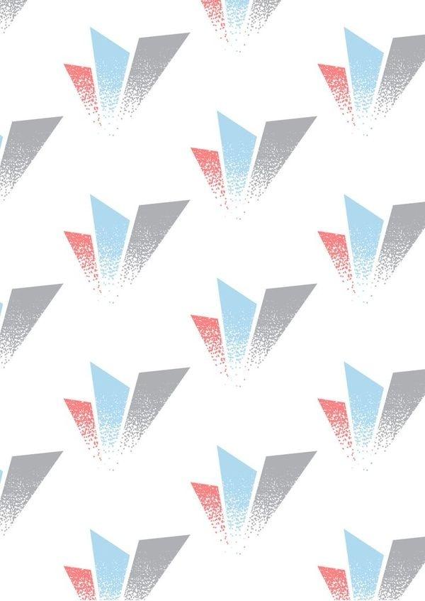 Geometric repeat pattern. Blue, coral, grey gradient dots design. #pattern #design #shapes #geometric #dots #gradient #colour
