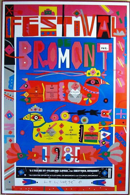 Norman Laliberte (1925 ) Hand Signed Large Bromont Poster #bromont #quebec #laliberte #poster #norman