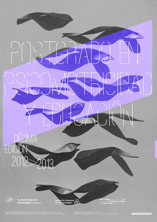 Postgrado Zaragoza #modular #shadows #aligned #center #photo #typography #based #grid #purple #poster #diagonal #grey