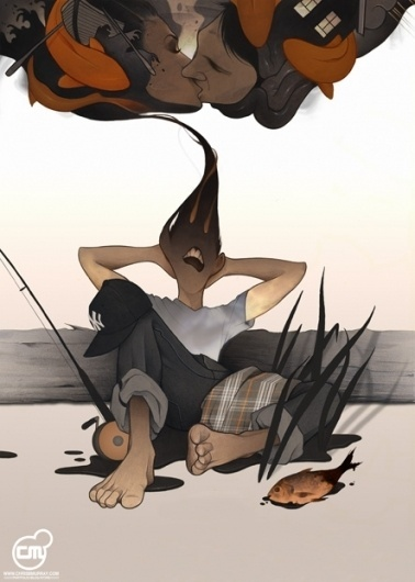 Illustration | Chris B. Murray #artwork #dreaming #illustration #fishing #chrisbmurray