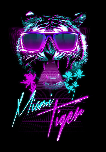 Miami Tiger Art Print #digital #art #poster #tiger #awesome
