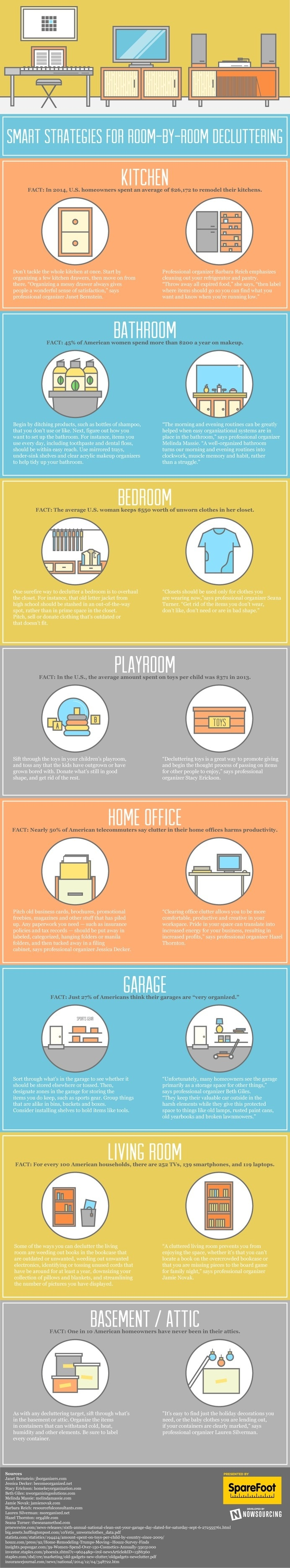 Decluttering doesn't have to be daunting.Learn tips and tricks from this infographic. #cleaning #decluttering #spring