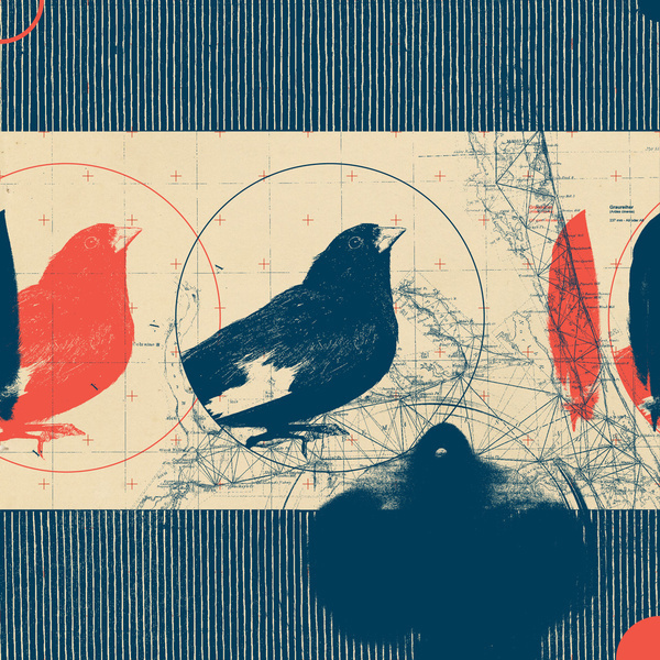 Fragments Tile 4/12 Art Print #mountain #print #geometric #map #bird #grid #art #tile #flowers