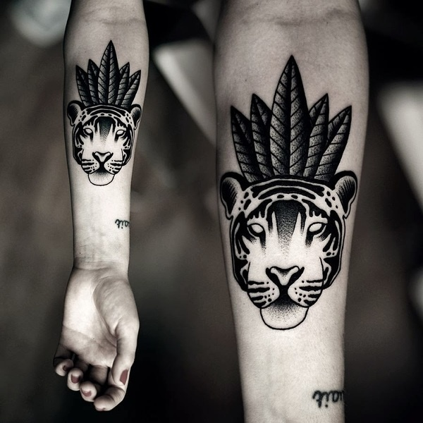 Mad Tea Party, tattoo: Kamil Czapiga #tattoo #tiger