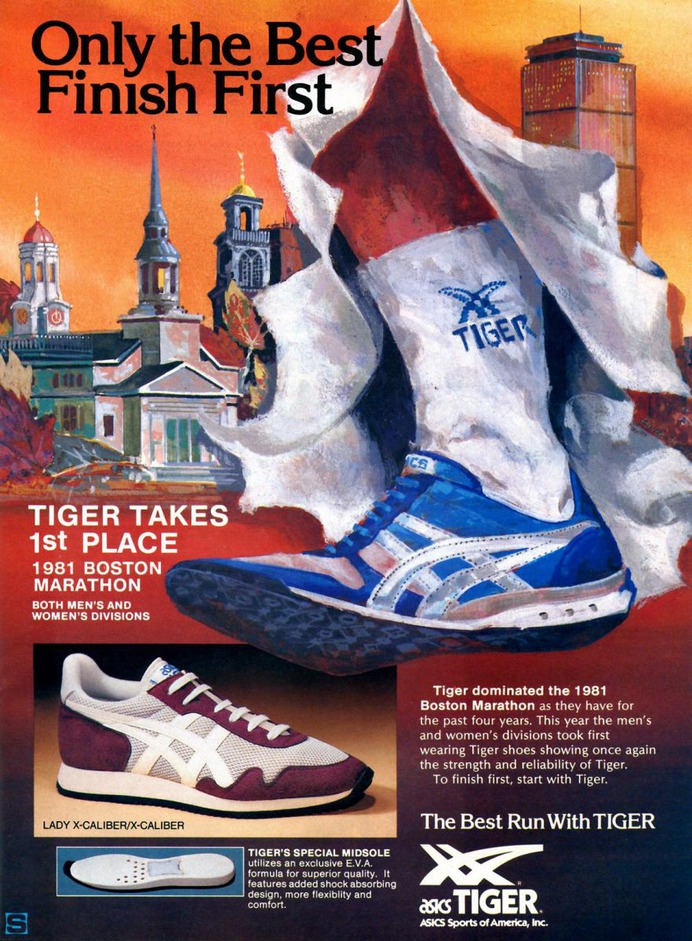 Vintage Ad: ASICS Tiger X-Caliber - 1981 Boston Marathon   Sole Collector