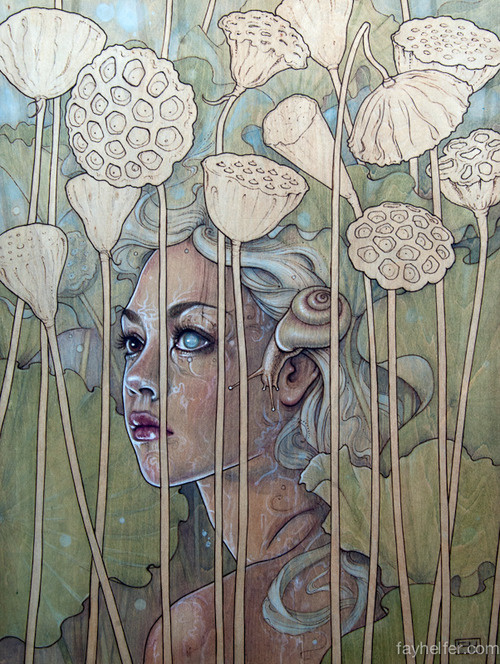 Lotus Girl by Fay Helfer #painting #illustration #art