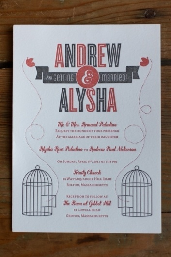 Beautiful Type #invite #letterpress #bird #ampersand #wedding #typography