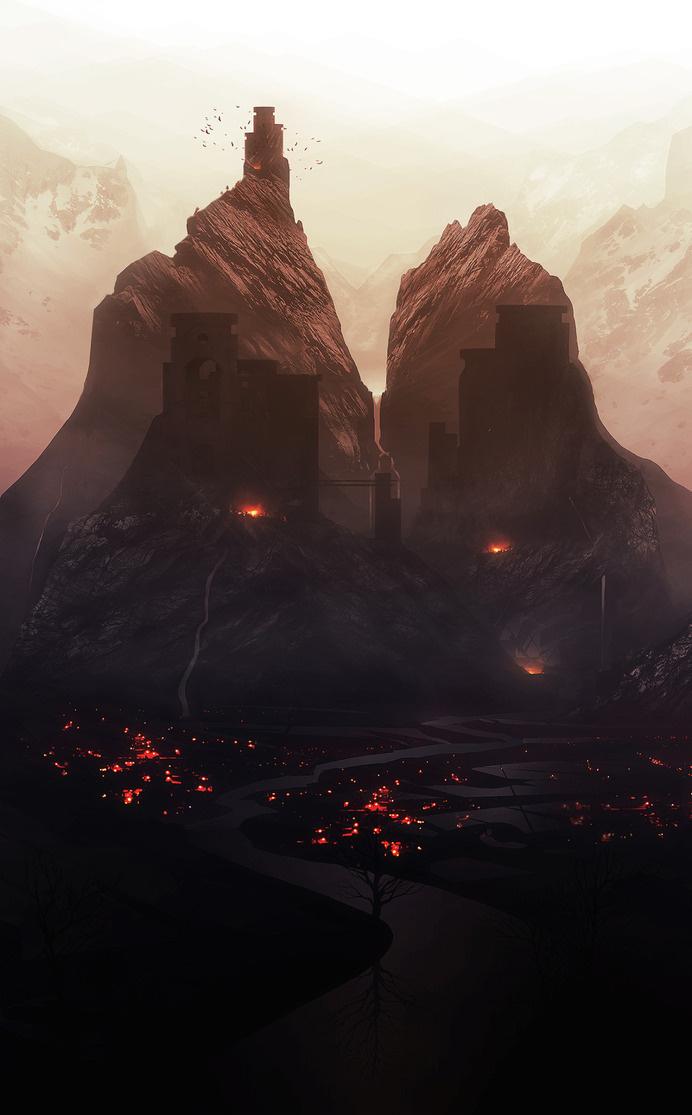 Orelf #brooding #landscape #illustration #concept #industrial #art #gloomy #dark #beauty