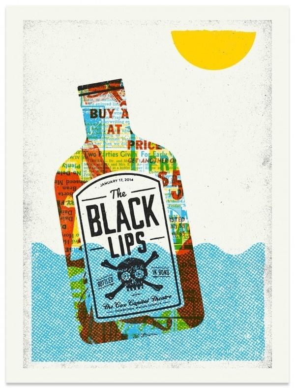 The Black Lips - Gig Poster #giant #modern #gig #design #print #lips #black #the #screen #illustration #poster