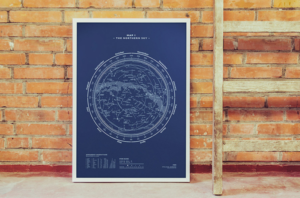 Silkscreen Print: Map I – The Northern Sky — stellavie | design manufaktur #constellation #silkscreen #stellar #sky #northern #map