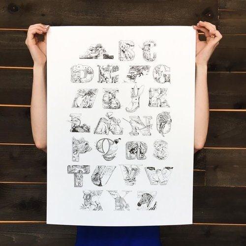 #print #poster #alphabet #tiger #narwhal #ABC #pen #illustration #type #inspiration #typography #goat #owl #elk #bird #gift
