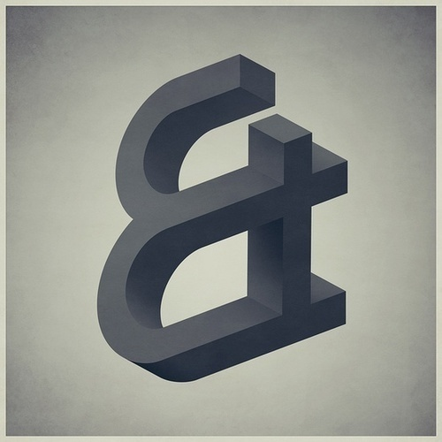 Ampersand #impossible #illusion #greyscale #ampersand #illustration #painting #and #3d