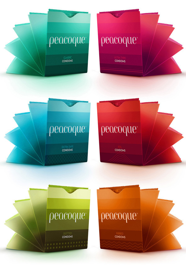 Peacoque - Innovative Condom Packaging on Behance #packaging #peacock #condom #minimalism