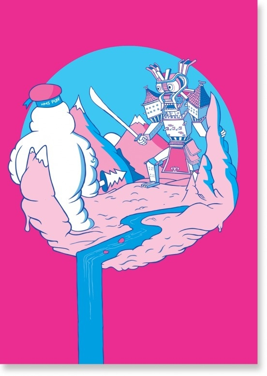 Dot by Juan Molinet #illustration #poster #pink #dot #humor
