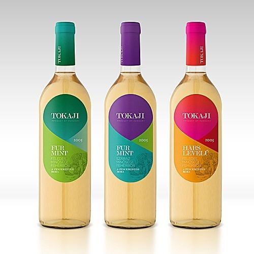 Tokaji Wine #bottle #pink #packaging #design #hite #hungarian #wine #label #purple #green