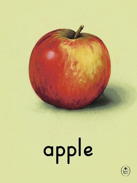 A is for Apple #apple #fruit #illustration #education #vintage #art #learning