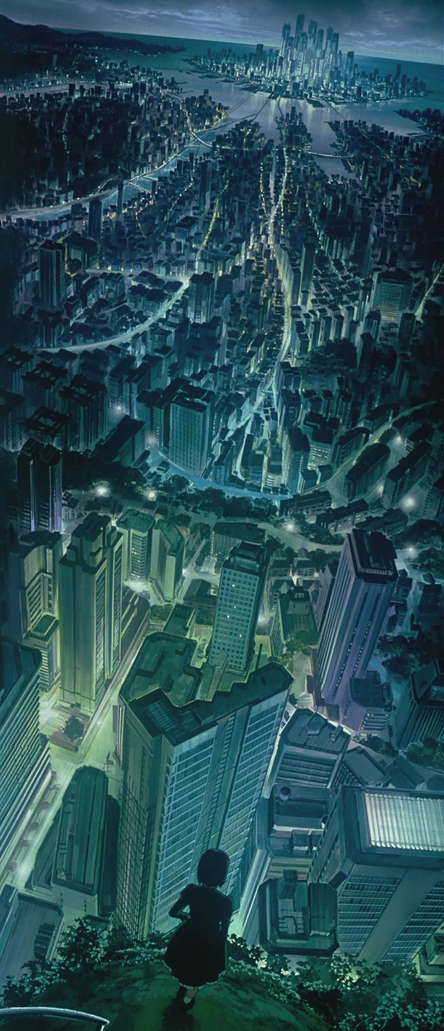 Background from Ghost in the Shell #urban #streets #ghost #in #city #shell #metropolis #the #illustration #glow #moonlight