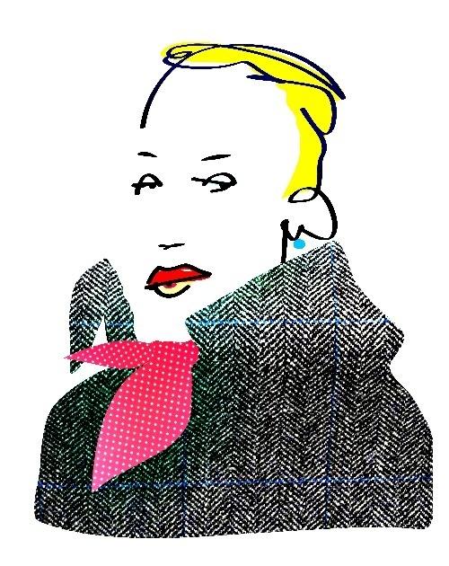 Valerie #woman #drawing #portrait #silk #scarf #tweed #coat #rouge #yellow hair #short hair #character