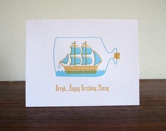 Ship in a Bottle Letterpress Birthday Card by luludee on Etsy #orange #letterpress #illustration #ship #blue