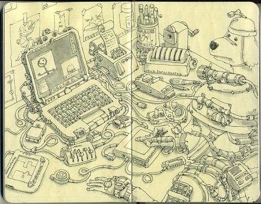 Moleskine Sketches by Mattias Adolfsson | Best Bookmarks #moleskine #sketch