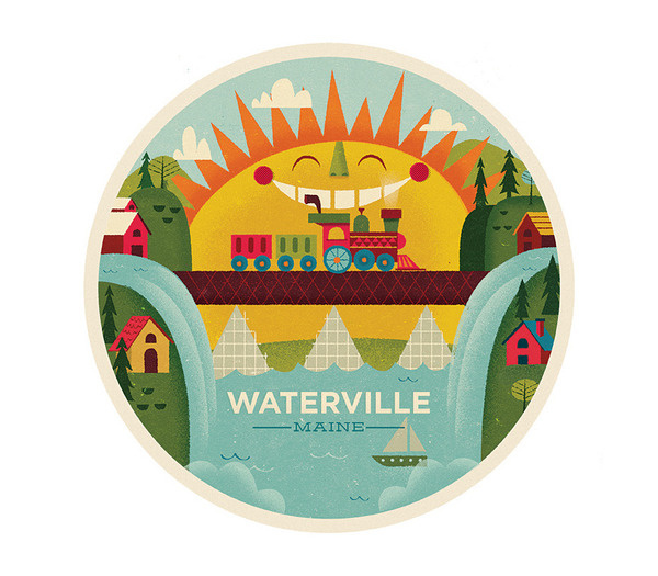 Waterville The Everywhere Project #illustration #sun #kids #train #everywhere project#mikedornseif