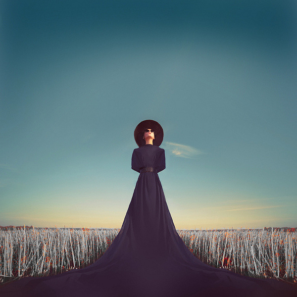 photo #field #nightmare #widow #american #horror #dream #black #blue #dress