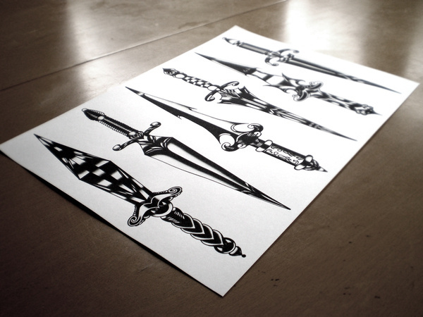 DAGGERS DAGGERS DAGGERS© 2012 Tom Gilmourhttp://www.tomgilmour.comhttps://www.facebook.com/tomgilmourillustration #dagger #illustration #tattoo