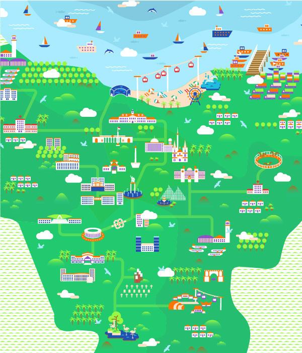 Jakarta Illustrated Map #jakarta #city #design #indonesia #illustration
