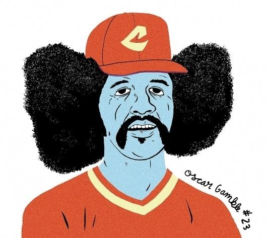 All sizes | oscar gamble | Flickr - Photo Sharing! #baseball #illustration #1970s