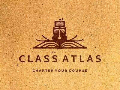 Dribbble - Class Atlas Logo Design (WIP) by Dalius Stuoka #branding #book #texture #ship #pen #logo