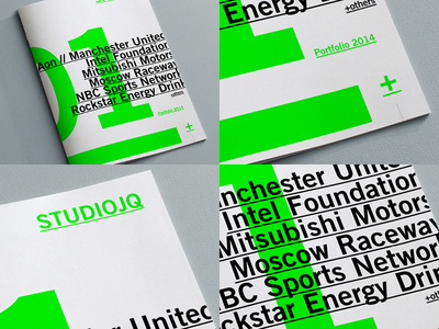 STUDIOJQ Brand refresh // Portfolio review #green #swiss #branding #print #logo #type #layout #typography