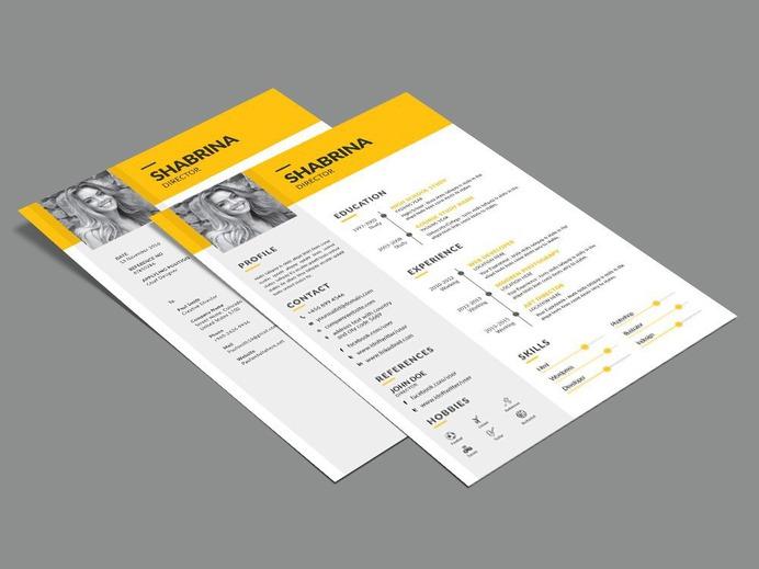 Shabrina Resume - Free Timeline Illustrator Resume Template for Job Seeker