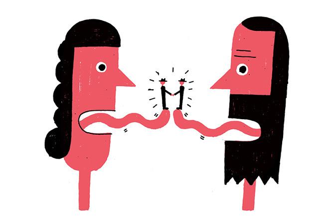Benoit Tardif / theatre de la licorne / colagene.com #naive #woman #illustration #speak #tongue #man #shake #hand #discussion