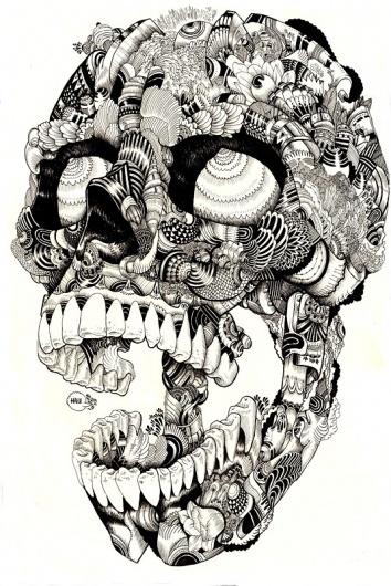 Skulltastic on the Behance Network #ink #white #lines #black #illustration #pen #skull #drawing