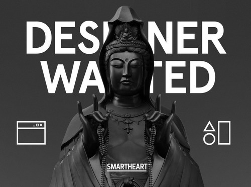 SmartHeart Designer Wanted Poster #designer #office #graphic #black #buddha #wanted #moscow #web #cool