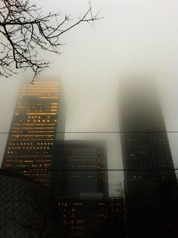بندة #urban #fog #photo #skyscraper #photography #building #neon