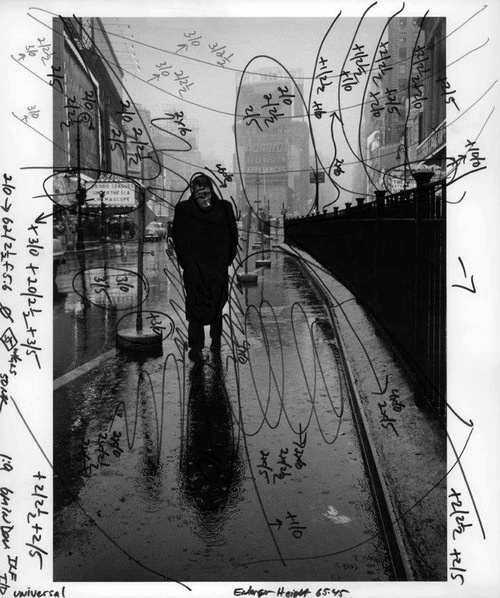 yimmyayo:Dennis Stock's image of James Dean in Times Square, marked with Pablo Inirio's printing notations. #photography #sketch