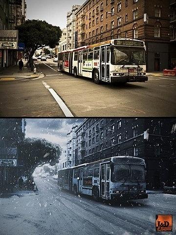 FFFFOUND! | summerWinter.jpg 542 × 722 Pixel #bus #city #summer #winter