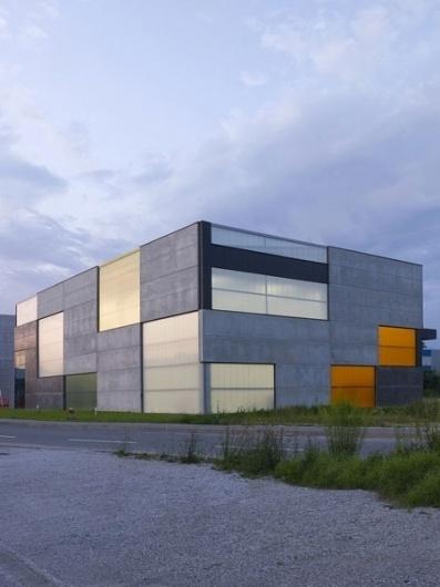 Dezeen » Blog Archive » Office, Store & Shop Concrete Container by OFIS Arhitekti #concrete #shop #ofis #office #glass #architecture #minimal #warehouse