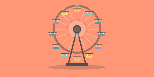 Ferris Wheel in the Desert #flat #vector #carnival #design #illustration