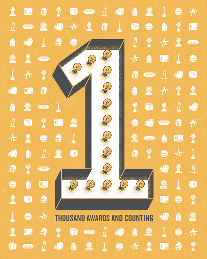 33. Over 1,000 Awards   GSD&M 40th Anniversary Poster Series #numbers #awards #poster #typography