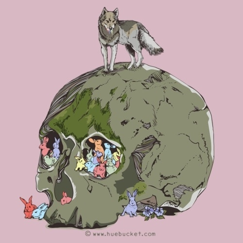 HUEBUCKET #hunt #fox #rock #color #skull #rabbit #death